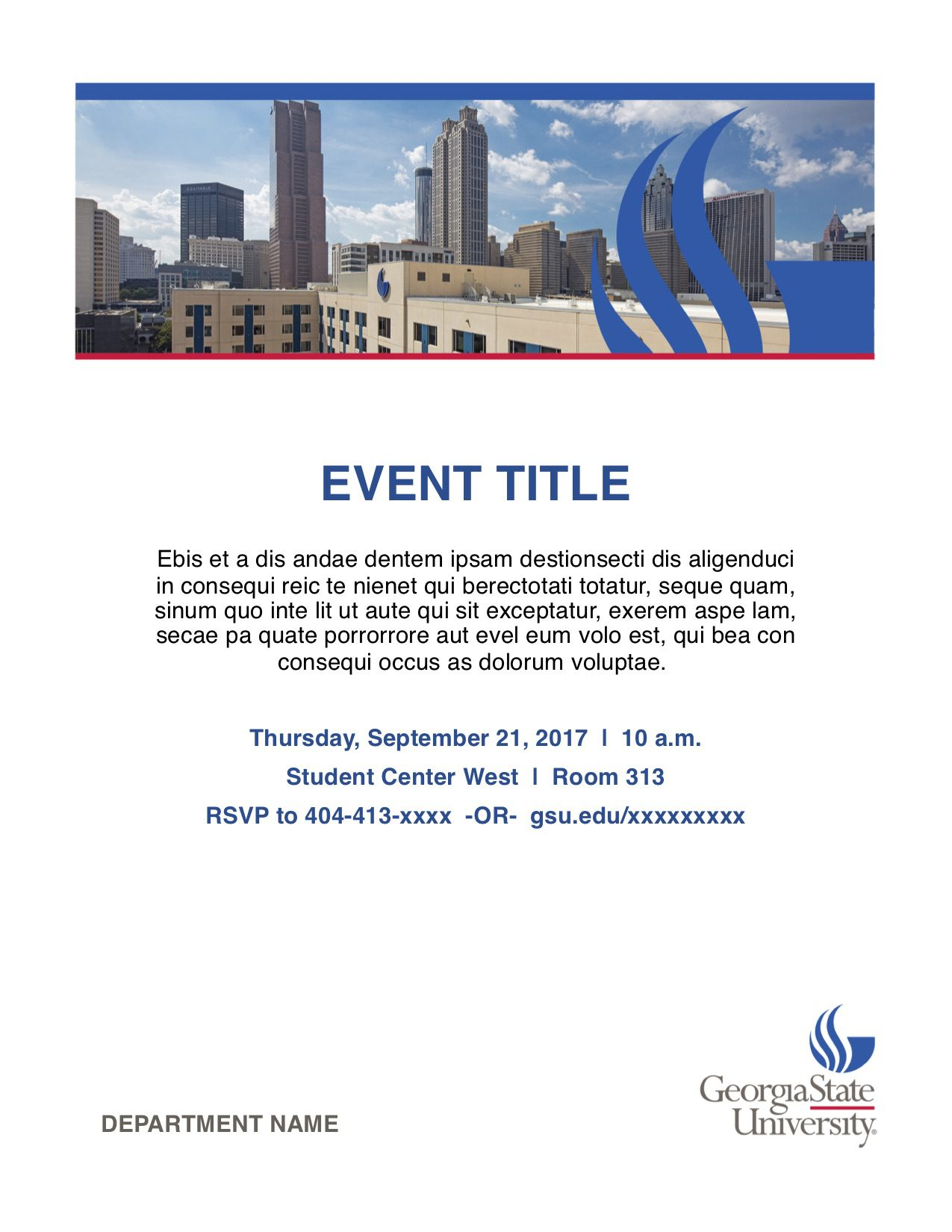 Sample Event Flyer with image at top, Title, text and details below