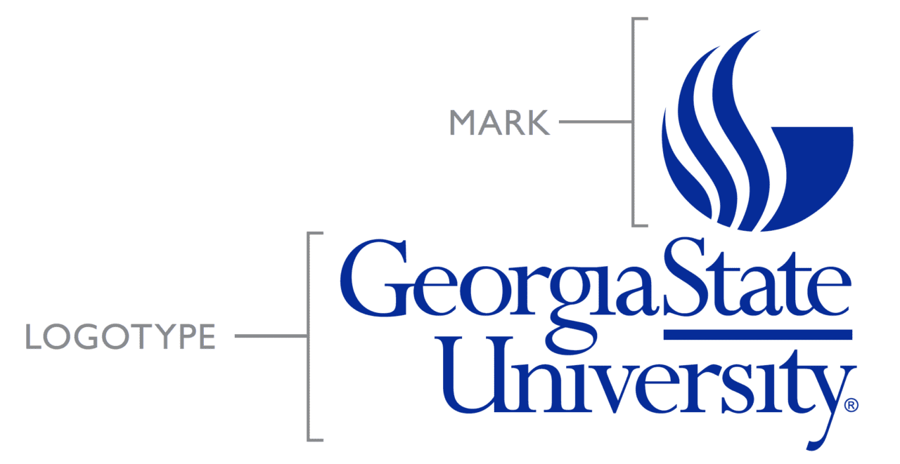 GSU logo with labels for the two different parts.