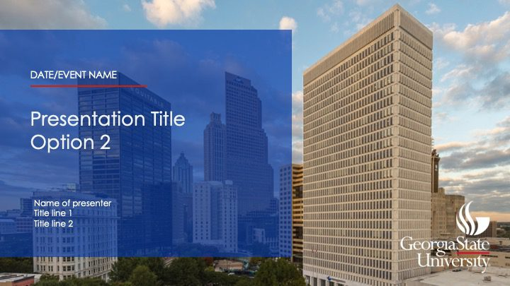 Presentation Title with opaque blue background over photo of downtown skyline
