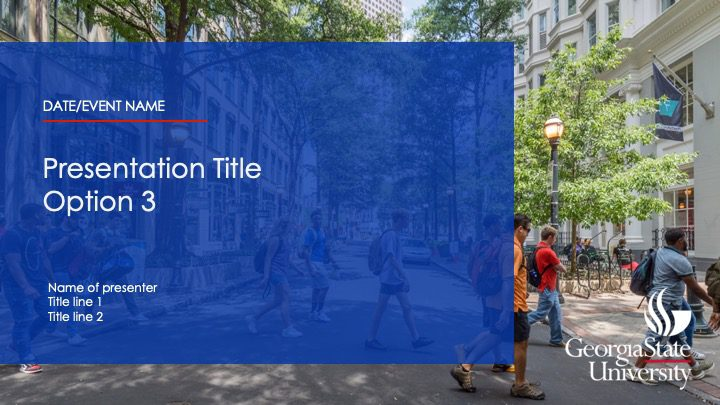Presentation Title with opaque blue background over photo of people walking on a street