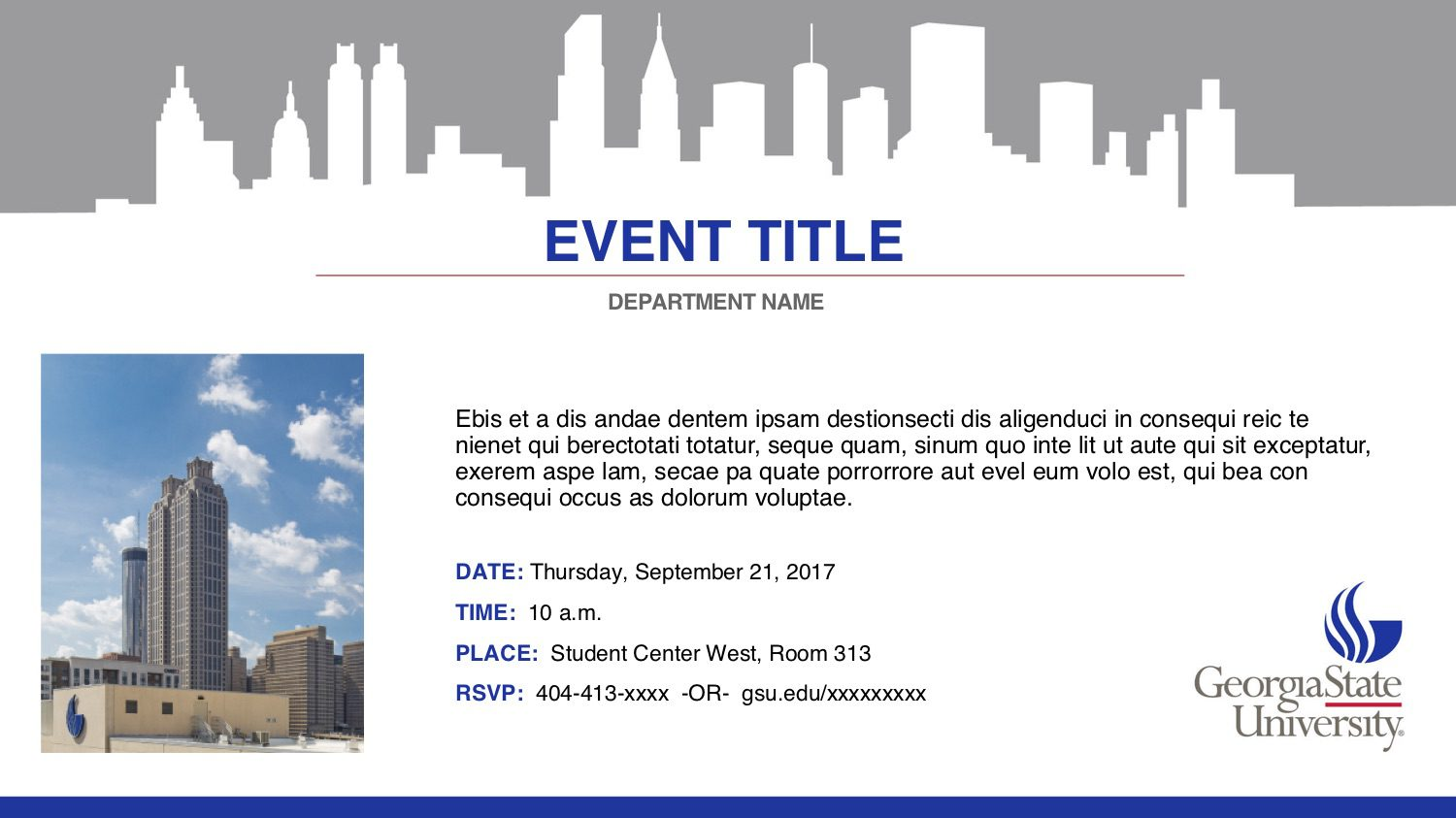 Digital sign template with top skyline silhouette, image left, title, description and event info righrt