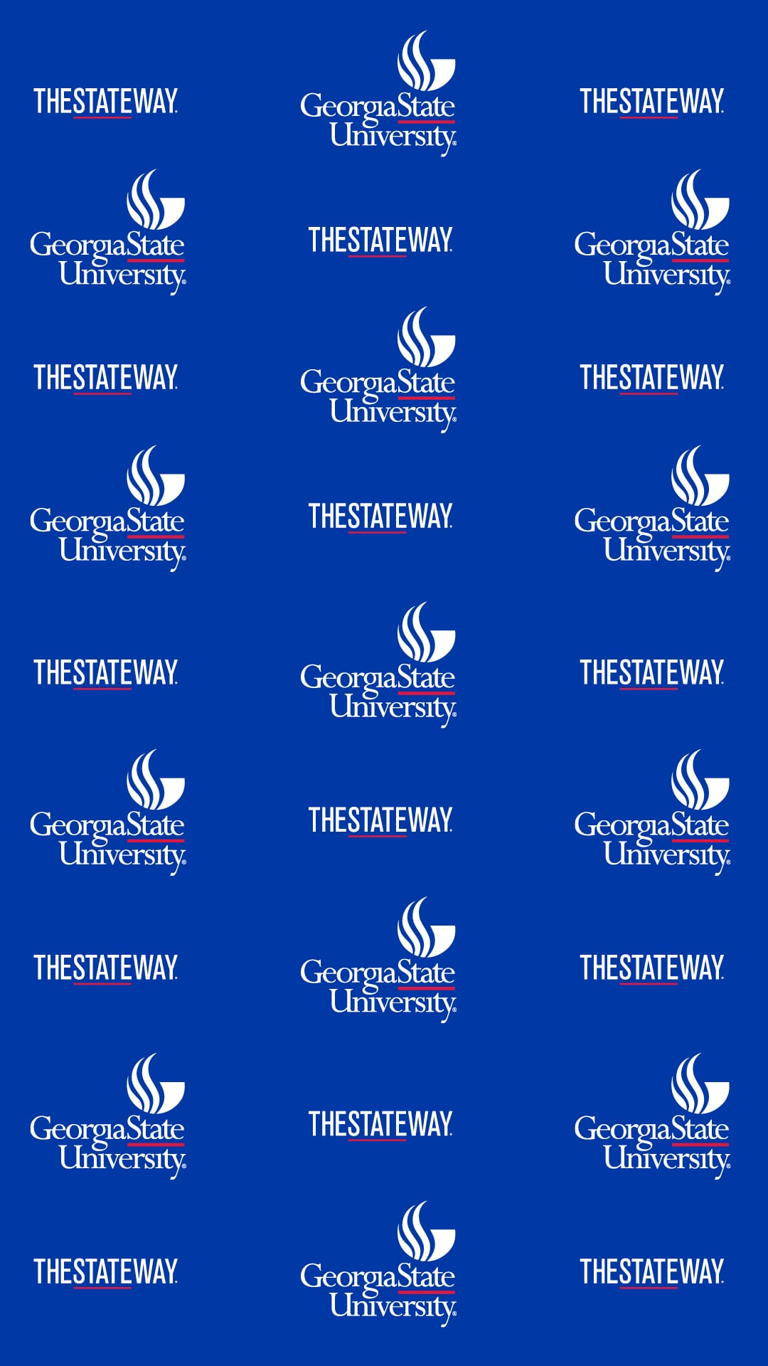 Vertical Image with repeated alternating TheStateWay and Georgia State Logos