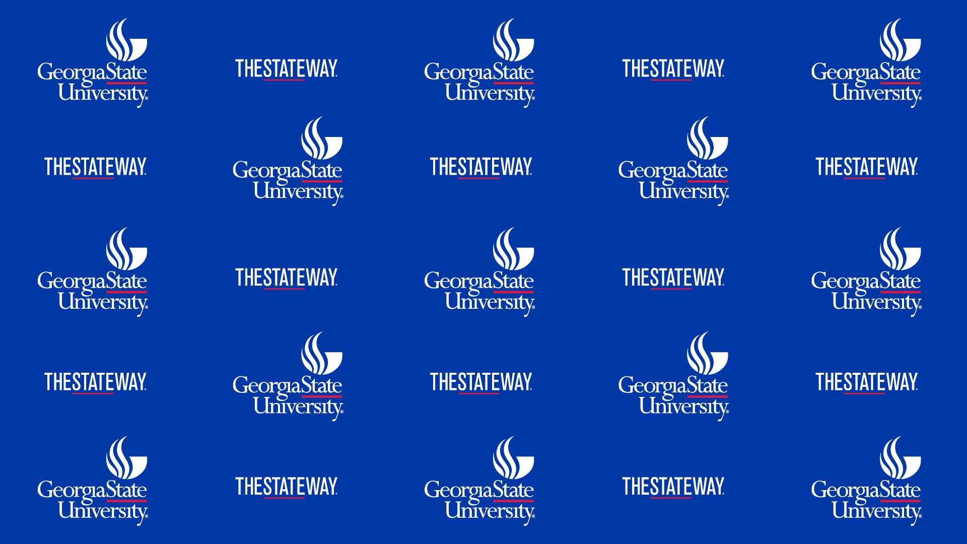 Repeated rows of alternating TheStateWay and Georgia State Logos